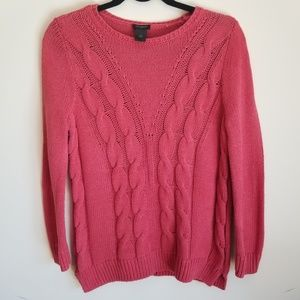 ANN TAYLOR Cable Knit 3/4 Sleeve Sweater